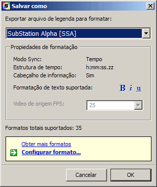 Salvando a legenda como SubStation Alpha (SSA) no Media Subtitler
