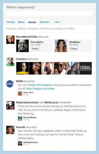 Nova tela de atividades no Twitter