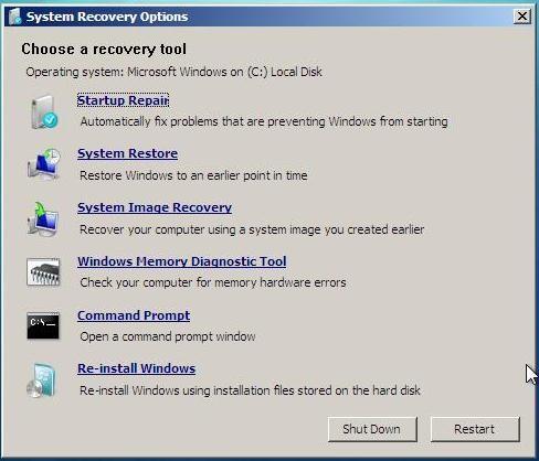 Opções de reparação do Windows