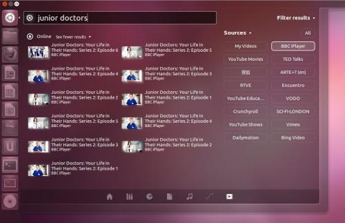 Busca de vídeos pelo menu do Unity