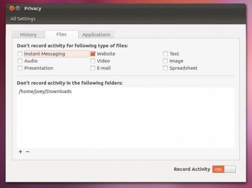 Opções de Privacidade no Ubuntu