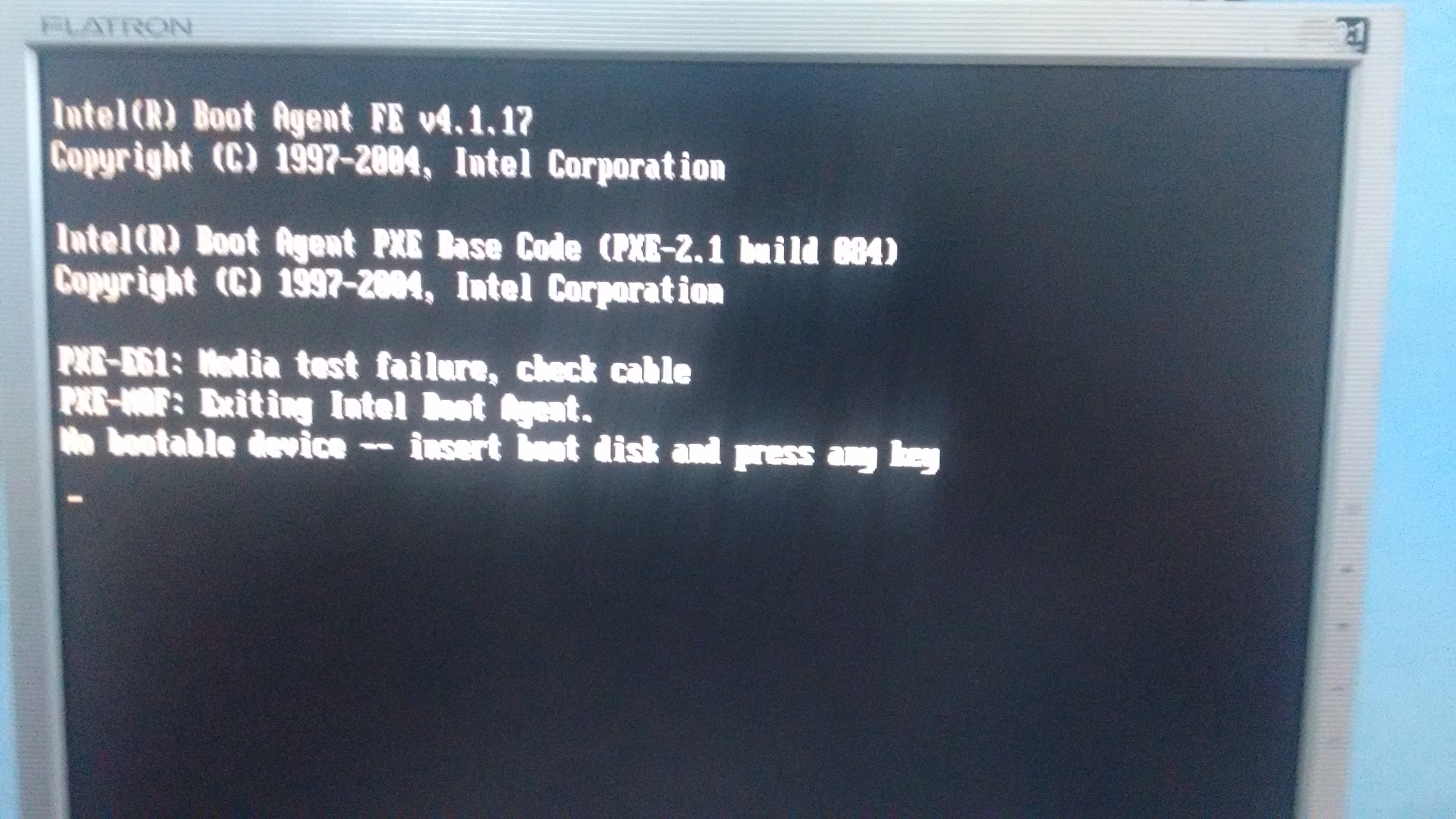 pxe-mof : exiting intel boot agent no bootable device
