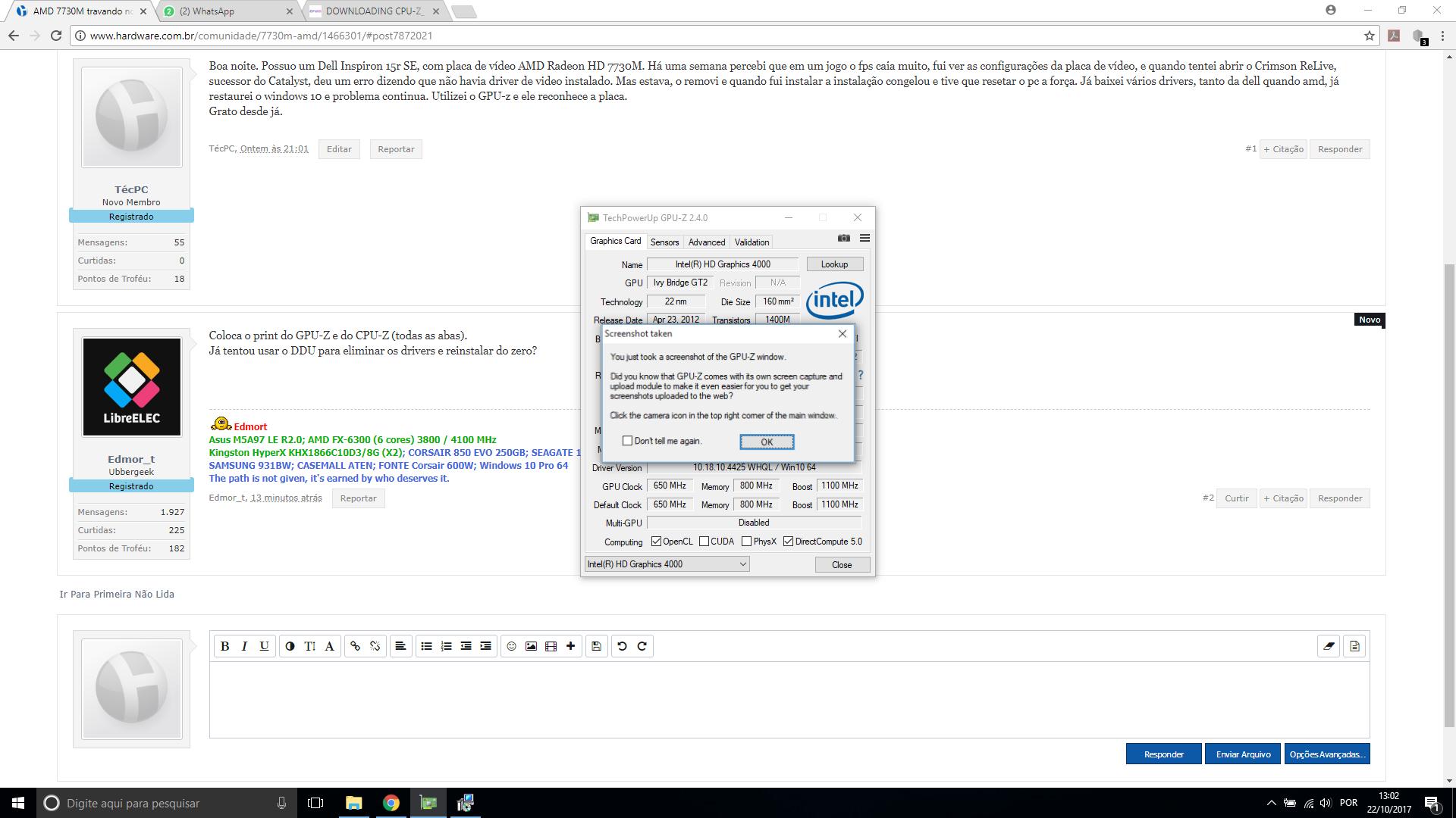 AMD 7730M travando notebook durante a instalação