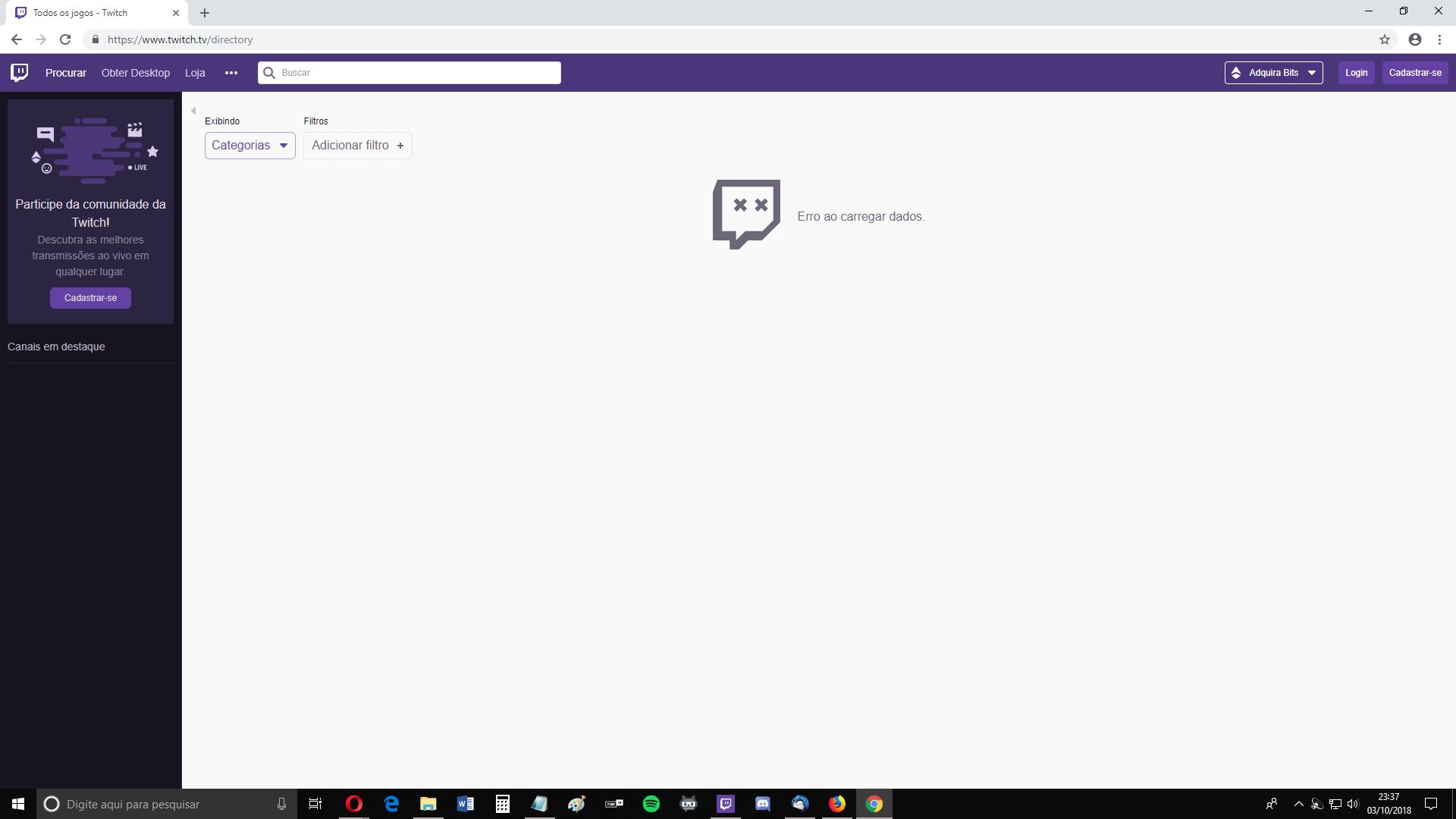 Twitch não carrega, Firefox com erro