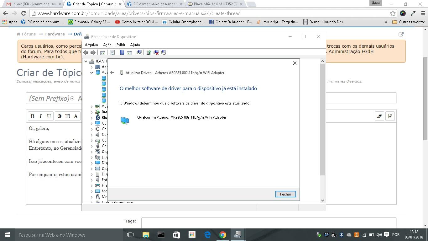 Resolvido - Adaptador de rede (Qualcomm Atheros AR9285) de