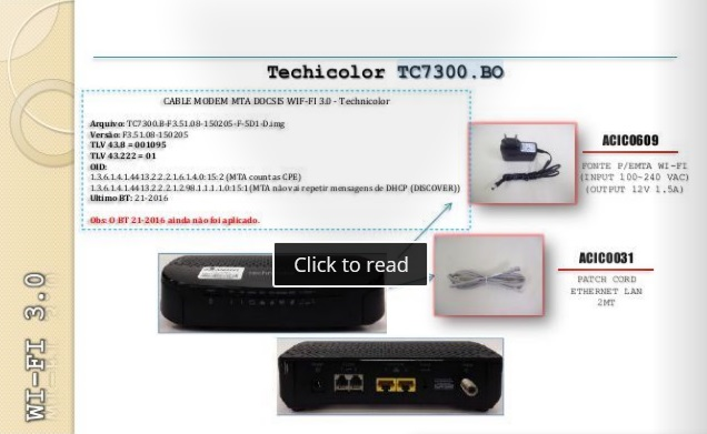 Modem Techinocolor TC 7300 BO